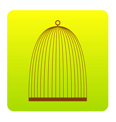 Bird cage sign brown icon at green-yellow vector