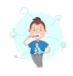 Boy brushing teeth vector