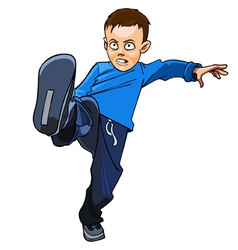 Boy kicks vector