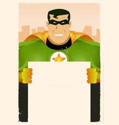 Comic super hero holding sign vector