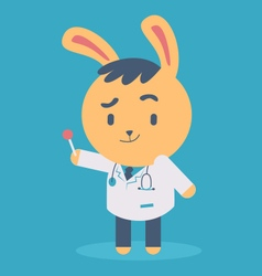 Cute bunny doctor holding a lollipop vector
