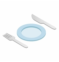 Cutlery set with plate isometric 3d icon vector