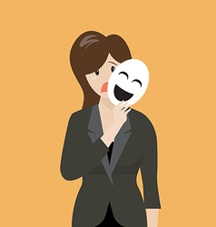 Fake business woman holding a smile mask vector