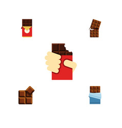 Flat icon bitter set of bitter chocolate bar vector