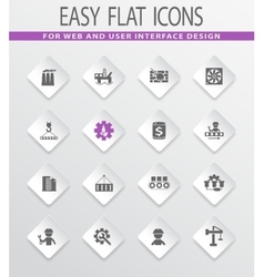 Flat industry icons set vector