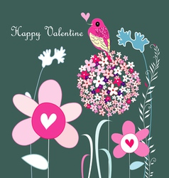 flowers and love bird vector image vector image