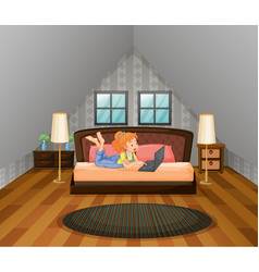 girl working on computer in bedroom vector image vector image
