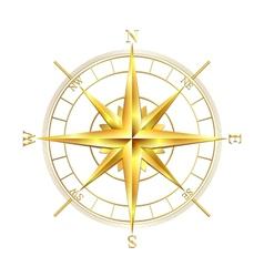 Golden compass rose vector