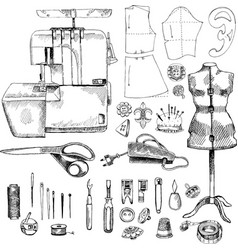 hand drawn sketch sewing set vector image vector image