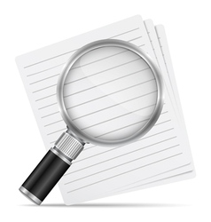 Magnifying glass with abstract paper documents vector image vector image