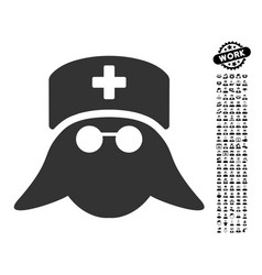 Medical nurse head icon with work bonus vector