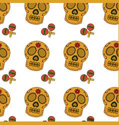 Mexican skull and maracas folk culture seamless vector