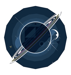 planet Saturn with rings vector image