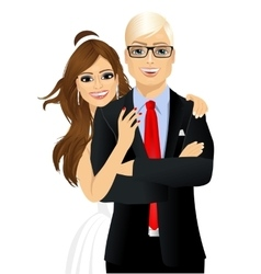 portrait of beautiful bride and groom vector image