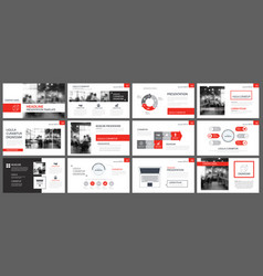 Red presentation templates and infographics vector