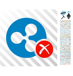Ripple reject flat icon with bonus vector