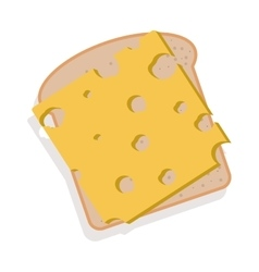 Silhouette color bread with cheese vector