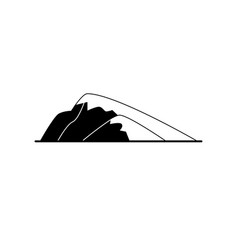 Sloping hill silhouette icon in flat style vector