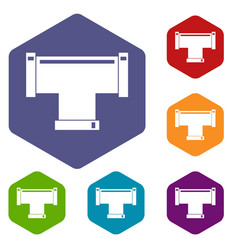 T pipe connection icons set hexagon vector