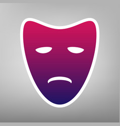 Tragedy theatrical masks purple gradient vector