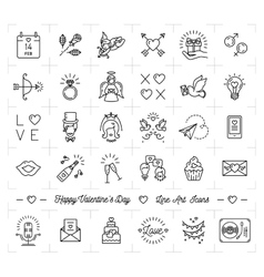Valentine icon set flat design line thin style vector image vector image