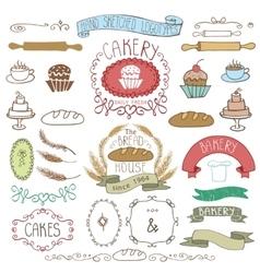 Vintage bakery labels element sethand sketched vector