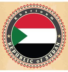 Vintage label cards of sudan flag vector