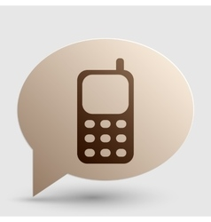 Cell phone sign brown gradient icon on bubble vector