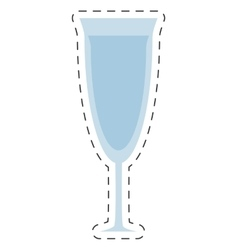 Glass cup wine drink cut line vector