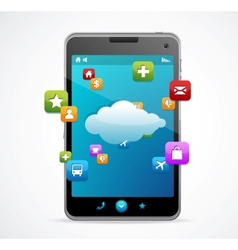 Smart phone with blue screen cloud-computing vector