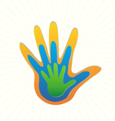 Family hands protection logo vector