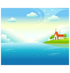 Idyllic church landscape background vector