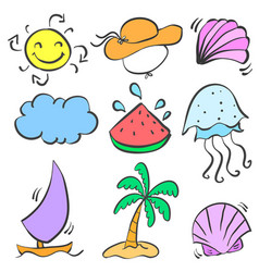 Happy holiday summer element doodles vector