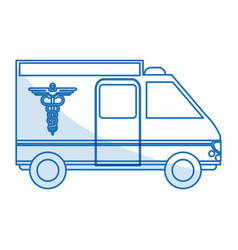 Blue silhouette shading ambulance truck with vector