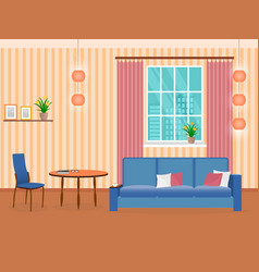 Interior of living room design in flat style with vector