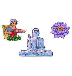 Buddha statue woman tea picker lotus flower vector