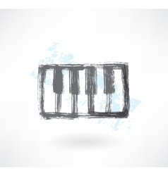 Piano keys grunge icon vector