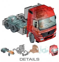 Semi truck info graphics vector