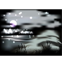 Night landscape with moon and mountains vector