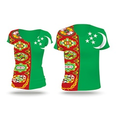 Flag shirt design of turkmenistan vector