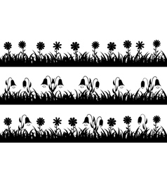Set seamless silhouette grass and flowers vector