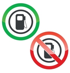 Gas station permission signs vector