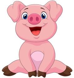 Cartoon adorable baby pig vector image
