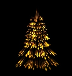 Golden fir tree christmas trace fireworks make vector
