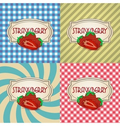 four types of retro textured labels for strawberry vector image