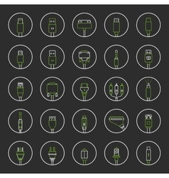 Set connectors for pc and mobile devices vector