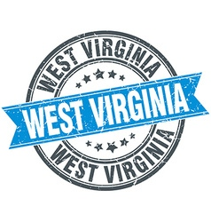 West virginia blue round grunge vintage ribbon vector