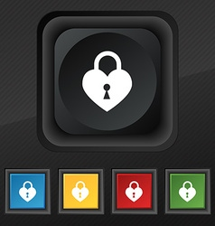 Lock in the shape of heart icon symbol set of five vector