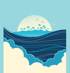 Big ocean waves and tropical island blue vector