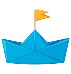 blue paper boat with yellow flag vector image